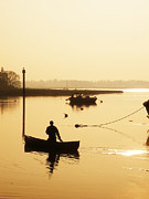 Sun Rise Prints - Fisherman on lake Print by Pixel Chimp