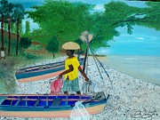 Jacmel;haiti Art - Fisherman Returning Home by Nicole Jean-louis