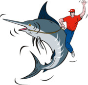 Fish Artwork Posters - Fisherman Riding Marlin Poster by Aloysius Patrimonio