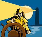 Lighthouse Sea Prints - Fisherman Sea Captain Helm Retro Print by Aloysius Patrimonio