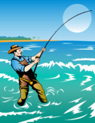 Reel Digital Art Prints - Fisherman surf casting Print by Aloysius Patrimonio