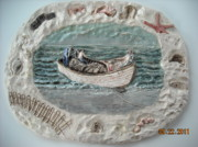 Seashore Reliefs Posters - Fishermans Catch Poster by Doris Lindsey