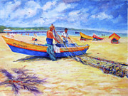 Puerto Rico Paintings - Fishermans Legacy by Estela Robles