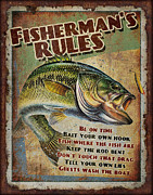 Lake Fish Framed Prints - Fishermans Rules Framed Print by JQ Licensing