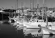 Fisherman Print Framed Prints - Fishermans Wharf Boats Black and White Framed Print by Twenty Two North Photography