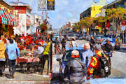 Crowd Scene Digital Art - Fishermans Wharf San Francisco California . Painterly . 7D14485 by Wingsdomain Art and Photography