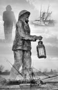 Sculptures Digital Art Posters - Fishermen - Jersey Shore Poster by Angie McKenzie
