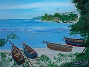 Nicole Jean-louis Paintings - Fishermen Boats By The Sea by Nicole Jean-Louis