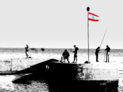 Urban Landscape Art Prints - Fishermen in Beirut Print by Funkpix Photo  Hunter