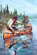 Fishermen Paintings - Fishermen in Canoe by Pg Reproductions