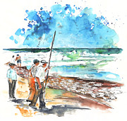 Fishermen Drawings - Fishermen in Praia de Mira 02 by Miki De Goodaboom