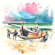 Atlantic Beaches Drawings Prints - Fishermen in Praia de Mira 03 Print by Miki De Goodaboom