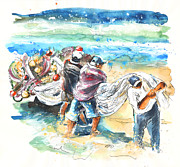 Skies Drawings Posters - Fishermen in Praia de Mira Poster by Miki De Goodaboom