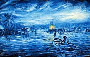 Night Lamp Painting Originals - Fishermen by Ogwah  Uly