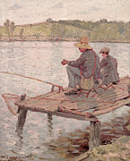 Pond Paintings - Fishermen by Pierre Roche