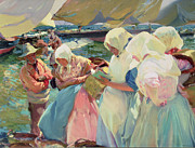 Boats On Water Framed Prints - Fisherwomen on the Beach Framed Print by Joaquin Sorolla y Bastida