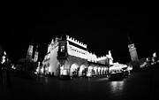 Polish City Framed Prints - fisheye shot of Rynek Glowny main town square in the stare miastro with krakow at night Framed Print by Joe Fox