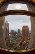 Skewed Acrylic Prints - Fisheye View of Cleveland from Terminal Tower Observation Deck Acrylic Print by Kathleen Nelson