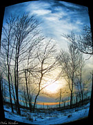 The View Mixed Media - Fisheye Winter Landscape by Debra     Vatalaro