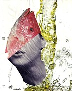 Office Decor Mixed Media - FishHead by Sarah Loft