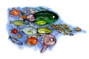 Sealife Mixed Media - Fishies by Kirsten Carlson
