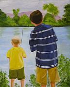 Boys Framed Prints - Fishin Framed Print by Joni McPherson