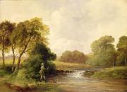Rushing Water Paintings - Fishing - Playing a Fish by William E Jones