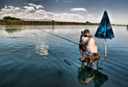 Reed Bed Prints - Fishing - 10 Print by Okan YILMAZ