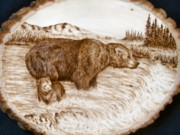 Bear Pyrography Originals - Fishing 101 by Adam Owen