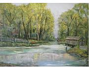 Covered Bridge Painting Metal Prints - Fishing At Covered Bridge Metal Print by Hal Newhouser
