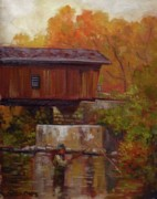 Covered Bridge Painting Metal Prints - Fishing at Creek Road Bridge Metal Print by Nora Sallows