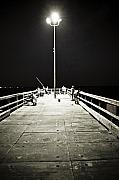Fishing Pier Prints - Fishing at Night Print by Marilyn Hunt