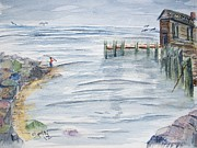 Fishing Shack Paintings - Fishing at Old Harbor by Spencer  Joyner
