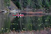 Lake Reflection Framed Prints - Fishing at One Mile Lake Pemberton Framed Print by Pierre Leclerc