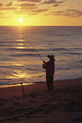 Reflections Of Sun In Water Metal Prints - Fishing At Sunrise Metal Print by Raymond Gehman