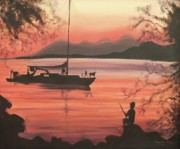 Leclair Prints - Fishing at Sunset Print by Suzanne  Marie Leclair
