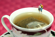 Kids Sports Art Digital Art Posters - Fishing at the edge of a cup of tea Poster by Mingqi Ge