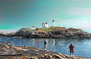 Nubble Lighthouse Painting Metal Prints - Fishing at The Nubble Lighthouse Metal Print by Earl Jackson
