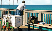Susan Leggett Prints - Fishing at the Pier Print by Susan Leggett