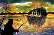Canada Paintings - Fishing at Twilight by Ion Danu