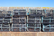 Netting Prints - Fishing baskets Print by Tom Gowanlock