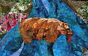 Fabric Quilts Tapestries - Textiles Posters - Fishing Bear Poster by Linda Beach