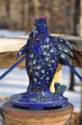 Featured Ceramics Metal Prints - Fishing Blues Metal Print by Terry Anderson