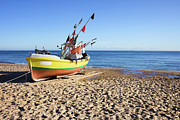 Artur Framed Prints - Fishing Boat at Baltic Sea Beach Framed Print by Artur Bogacki