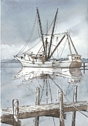 Dock Drawings - Fishing Boat at Swansboro II by David Norris
