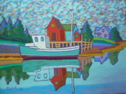 Village Pastels Prints - Fishing Boat at Tanners Pass Print by Rae  Smith PSC