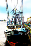 Boston Digital Art Metal Prints - Fishing Boat Boston Harbor Metal Print by Michelle Wiarda