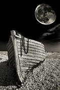 Moon Photo Framed Prints - Fishing Boat Graveyard 3 Framed Print by Meirion Matthias