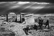 Sheds Prints - Fishing Boat Graveyard 4 Print by Meirion Matthias