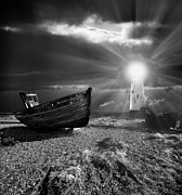 Moonlight Beach Posters - Fishing Boat Graveyard 7 Poster by Meirion Matthias